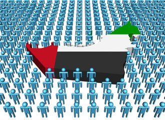 Uae map flag surrounded by many abstract people illustration