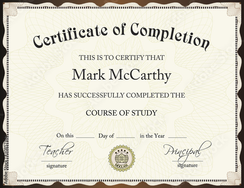 Certificate of completion template stock image and royalty free certificate of completion template yadclub Gallery