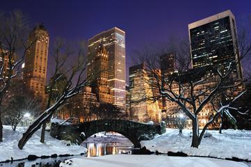 Fototapete - New York City Manhattan Central Park panorama at dusk