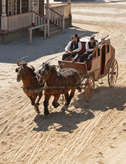 Sheriff and Deputy driving a stagecoach, Mini Hollywood, Spain
