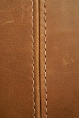 Poster Leder brown leather texture with seam