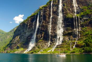 Yacht in Norwegian fjord