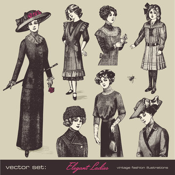 vector set: elegant ladies - retro fashion illustrations