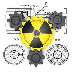 radiation gears against engineering drawing