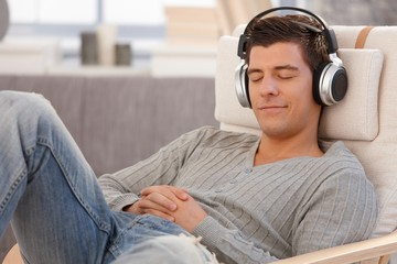 Young man relaxing with headphones
