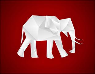 Canvas Prints Geometric animals Origami elephant.