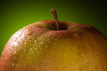 Wet Apple with water drops