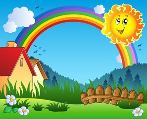 Landscape with Sun and rainbow