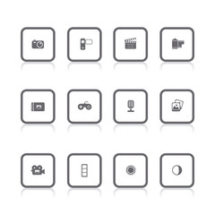 gray icons multimedia square