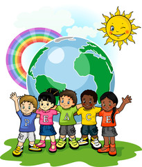 Spoed Fotobehang Regenboog Children united world of peace