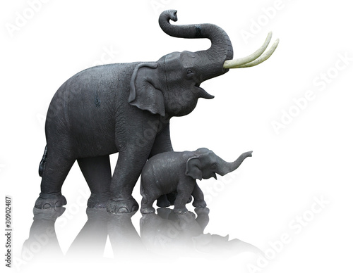 Statue Of Mother And Baby Elephant