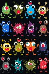Door stickers Creatures seamless monster pattern