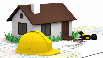 House, blueprints and Yellow Hard  Hat