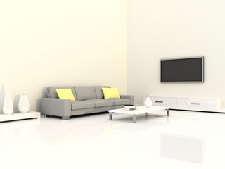 Interior of the modern room, white wall and grey sofa