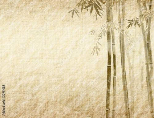 Wall mural bamboo on old grunge antique paper texture .