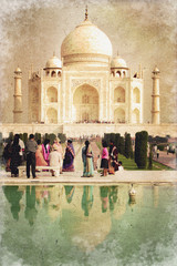 Taj Mahal, style photo ancienne