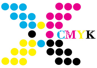 cyan magenta yellow black dots in x form