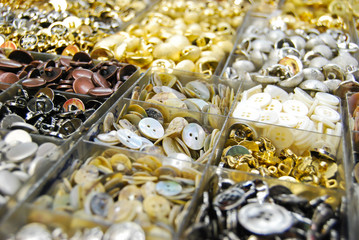 vintage clothes buttons in market