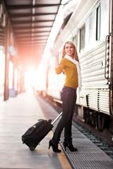 Traveling Caucasian woman