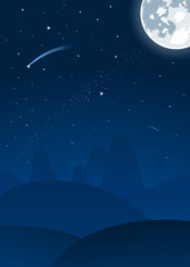Vector night landscape with moon