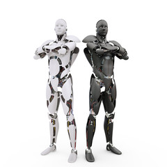 Two robots on the white background