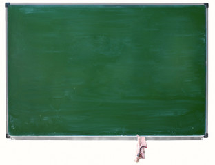 green blackboard with chalk stains and hanging rag isolated