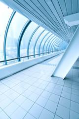 blue transparent hallway