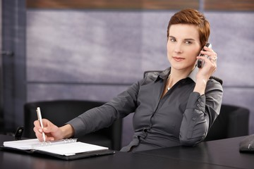 Businesswoman taking notes while on phone call