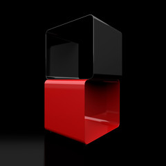 Two cubes on a black background