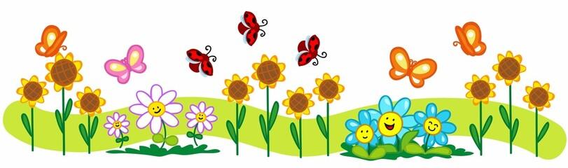 Striscia di fiori, farfalle e coccinelle.