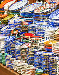 Ceramic plates and bowls at market