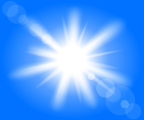 Illustration of the bright sun in blue sky.