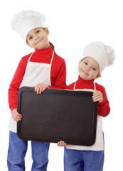 Little cookers with empty horisontal chalkboard
