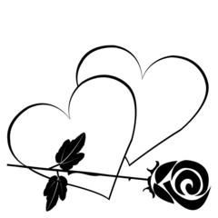 Black hearts with black rose