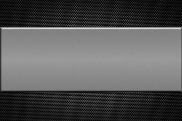 Carbon fiber background with  brushed aluminum plate.