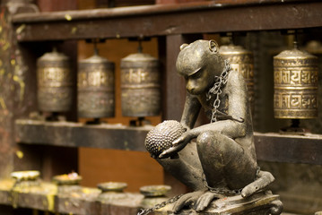 Macaque sculpture  in temple .