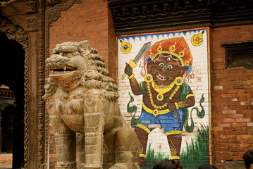 Stone Guardian Lion at Patan Durbar Square .2.