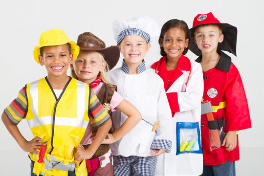 kids in various uniforms standing in a line