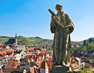 Statue over a city (Český Krumlov)