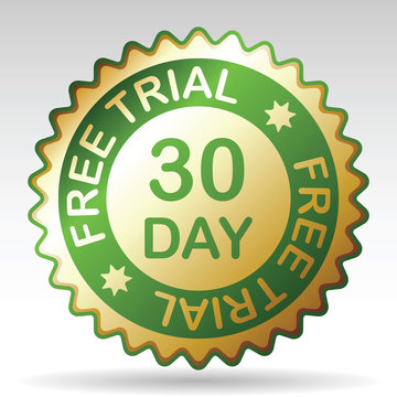 30 day free trial label,  vector EPS 8