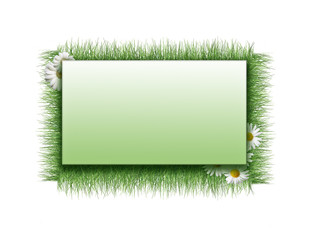 Background of grass and frame on grunge background