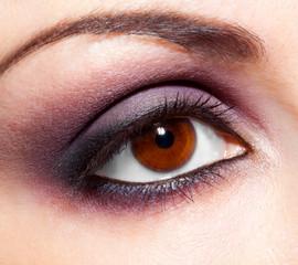 Modern fashion violet makeup of a female eye - macro shot