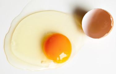 Broken raw egg
