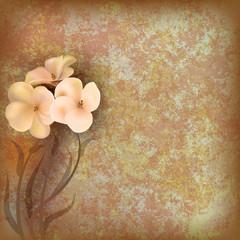 grunge floral illustratiun with flowers