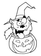 Outlined Werewolf in Pumpkin