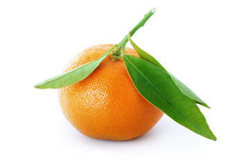 Ripe tangerine with green leaves.