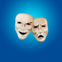 Comedy and Tragedy Mask on Blue Background