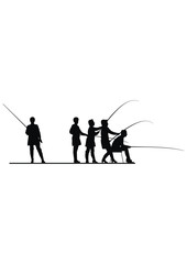 Vector silhouettes of activity women in fishing