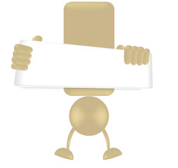 exclamation mark holding blank board - jumping