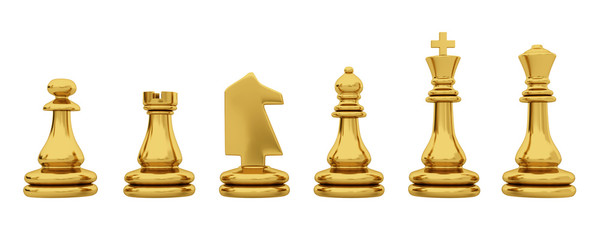 Golden chess pieces isolated on white background